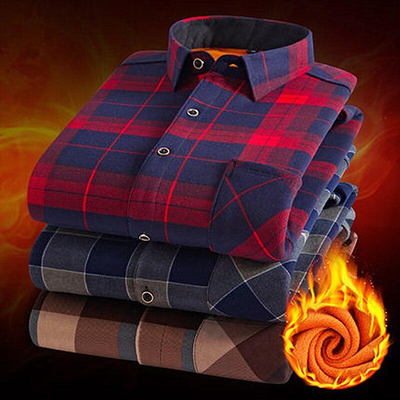 Moda masculina inverno quente flanela xadrez camisas de algodão manga longa camisas de trabalho dos homens marca casual fino ajuste camisas sociais