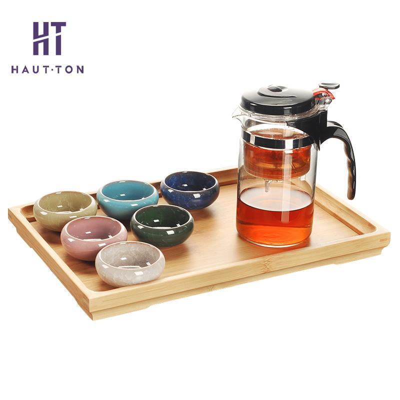Théière en verre Kung fu ensemble de thé tasse à thé bois Teatray théière 500 ml fourniture de boisson