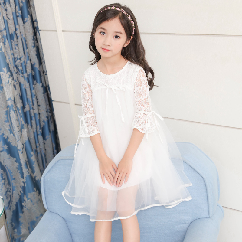 New Arrived Girls Summer Floral Dress Teens Princess Tulle Party Dress Lace Child Clothing For 4 5 6 7 8 9 10 11 12 Years Old