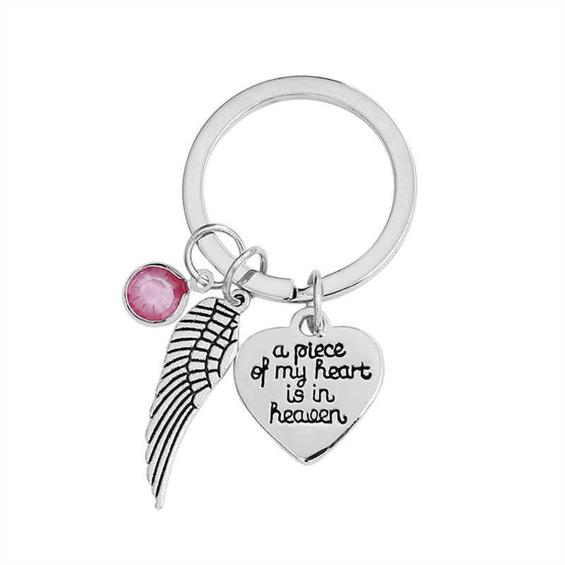 Key Chain Gifts Angel Wings A Piece Of My Heart Is In Heaven Letters  Keychain Couples Boyfriend Girlfriend Jewelry