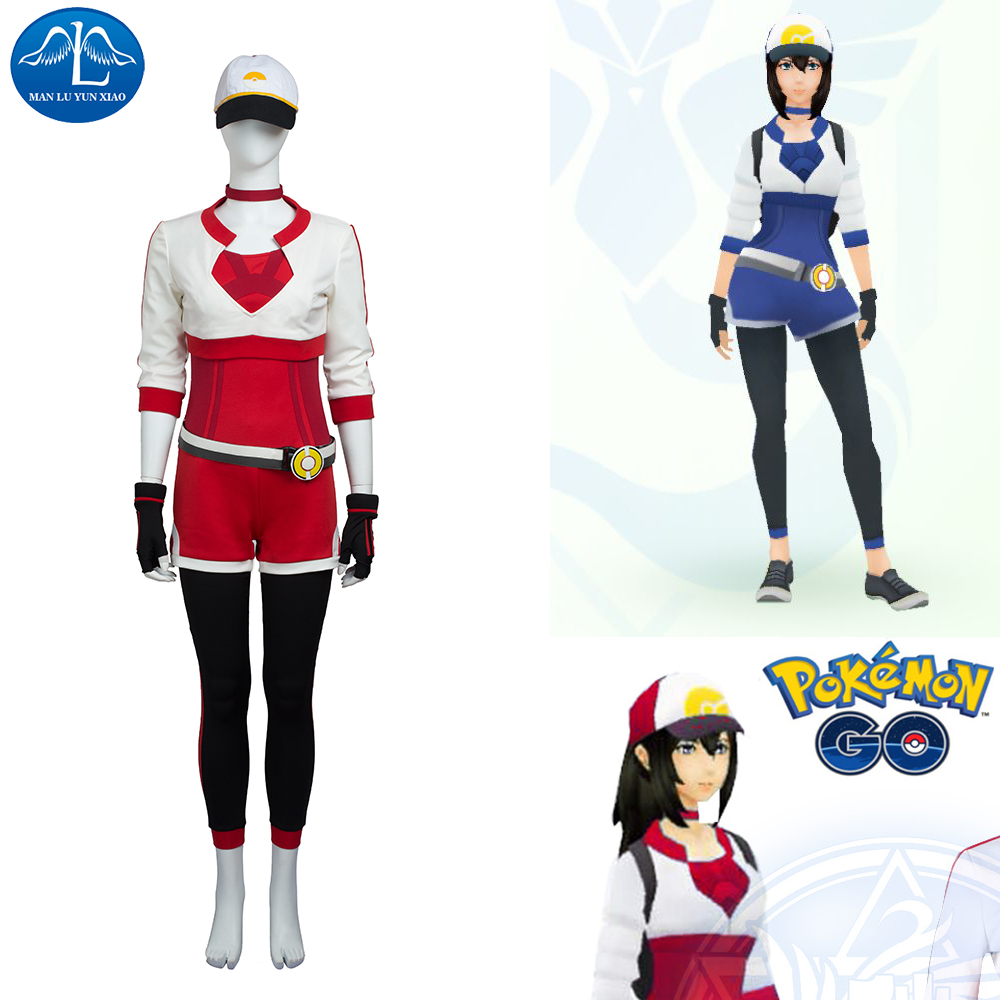 Women Blue Red Yellow Pokemon GO Cosplay Costume Pokemon Pocket Monster Trainer Costume With Hat Halloween Costumes For Women