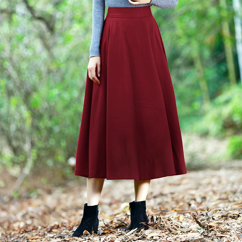 Women High Waist Solid OL Flared Pleated Long Skirt A Line Dress Large Skirt Women Maternity Skirt Falda Jupe Livraison gratuite цены
