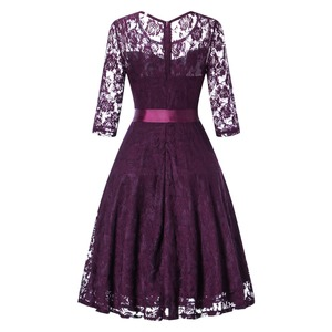 Image 3 - OML 516Z#Middle sleeve O Neck short purple lace Bow Bridesmaid Dresses wedding party dress prom gown womens fashion wholesale