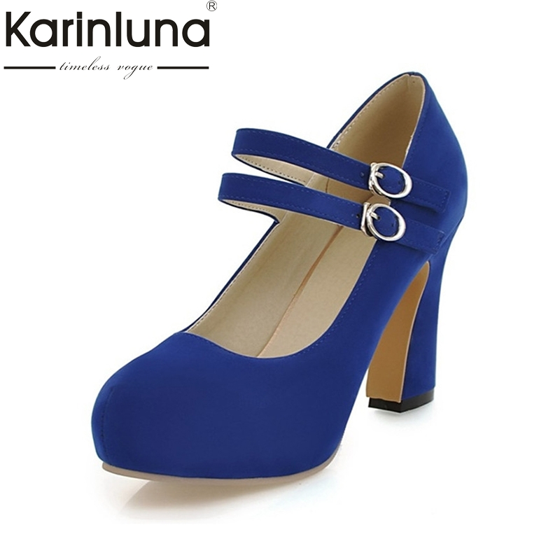 KAIRNLUNA Large size 34-43 mary janes women shoes woman high heels elegant buckle strap office lady party wedding pumps khaki suede large size mary janes high