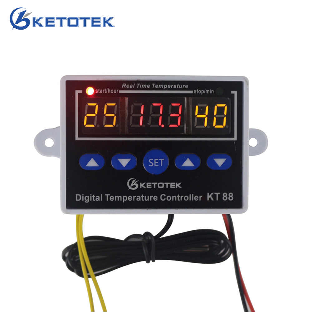 KETOTEK KT88 regulator temperatury termostat cyfrowy termostat regulator temperatury do inkubatora 10A 220V 12V 24v