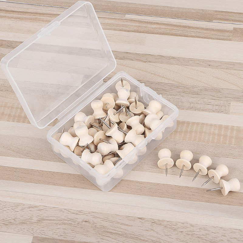 50Pcs Straw Hat Wooden Thumbtack Creative Decorative Drawing Push Pins Wood Head