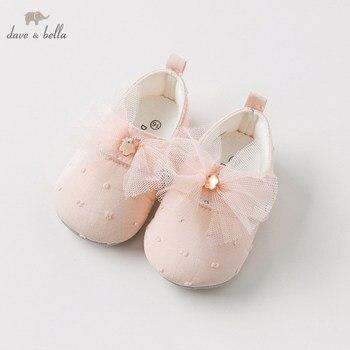 DB10964 ديف بيلا الربيع الخريف طفلة الوردي القوس الأحذية الجلدية أحذية ماركة الأطفال