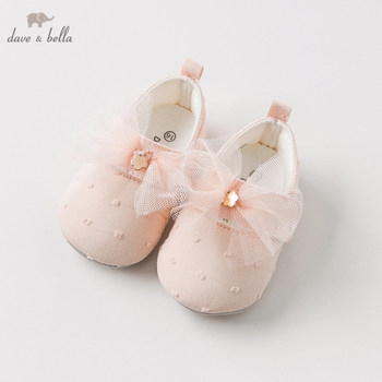 DB10964 Dave Bella spring autumn baby girl pink bow leather shoes children brand shoes