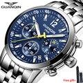 GUANQIN 2019 новые мужские часы Топ бренд класса люкс Бизнес водонепроницаемые светящиеся часы кварцевые наручные часы хронограф мужские спорти...