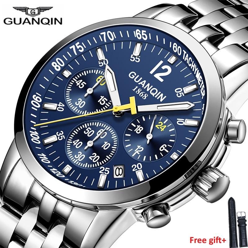 GUANQIN 2019 New Watch Men Top Brand Luxury Business Waterproof Luminous Clock Quartz Wristwatches Chronograph Men Sport Watches