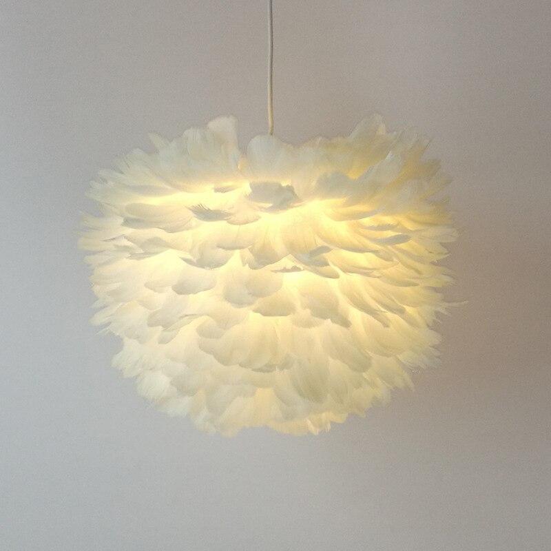 Creative Moderne Plume Pendentif Lumière Mode Bref Blanc Nid D'oiseau Pendentif Lampe Suspension suspension Pour Restaurant Chambre