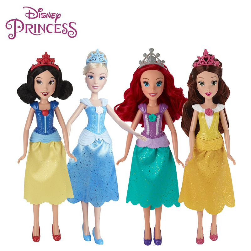 29cm Original Hasbro Disney Princess Snow White Ariel Belle Cinderella Doll Model Birthday Gift Girl Kid Toy Doll Action Figure 8pcs set high quality pvc figure toy doll princess snow white snow white and the seven dwarfs queen prince figure toy