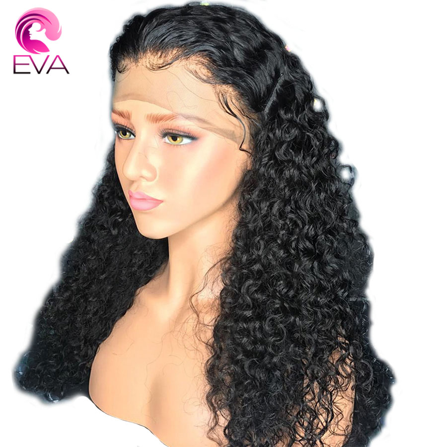 Eva Hair 250 Density 360 Lace Frontal Human Hair Wigs With Baby Hair Curly Wigs Pre
