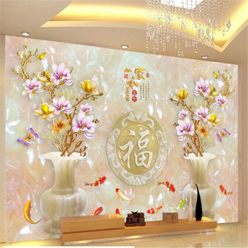 beibehang 3d custom photo wallpaper murals stickers Home and wealthy jade carving nine fish picture TV back ground wall photo ...