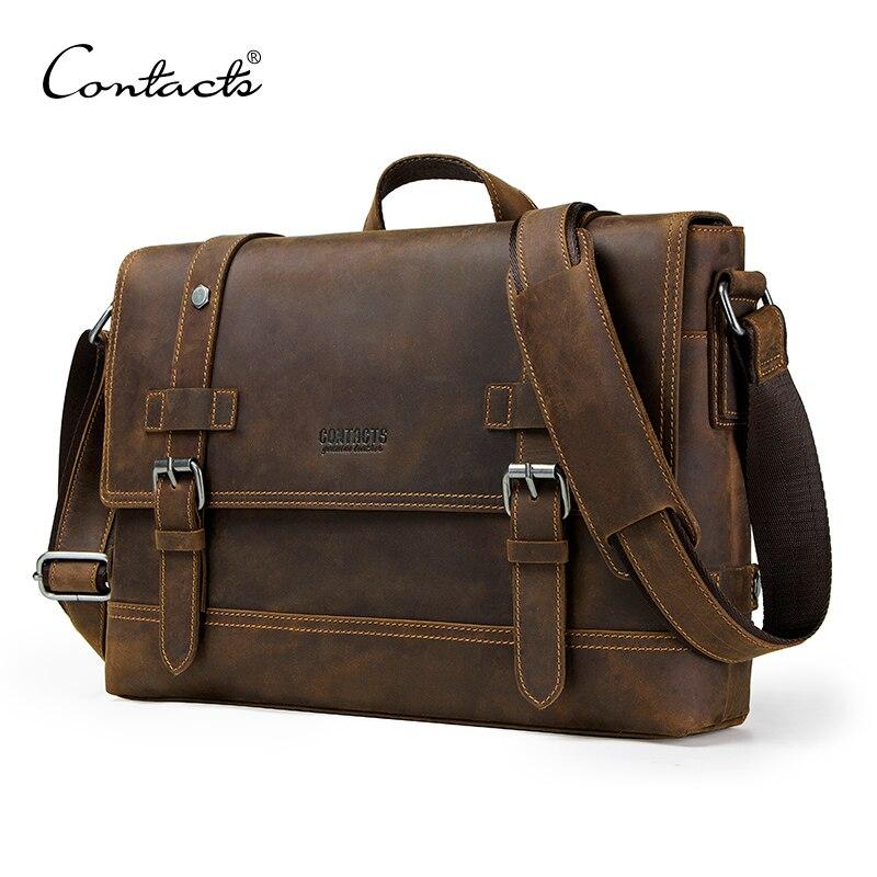 Контакта crazy horse пояса из натуральной кожи для мужчин Сумка Винтаж человек сумки на плечо для ноутбука курьерские сумки мужской bolsa