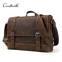 CONTACT'S crazy horse genuine leather men's bag vintage man shoulder bags for laptop messenger bags male bolsa crossbody handbag