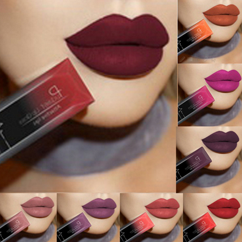 2017 hot waterproof lip gloss matte liquid lipstick matte lipstick lipkit cosmetics makeup nude purple black rose pudaier brand(China)