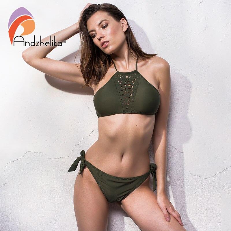 Andzhelika 2018 Women Bikini Set Swimsuits Brazilian Biquni Hollow Out Swimwear Solid Low Waist Sexy Beach Bathing Suit Monokini