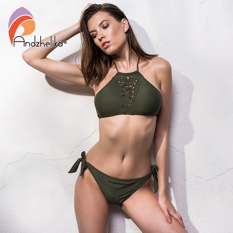 Andzhelika <font><b>2018</b></font> <font><b>Women</b></font> <font><b>Bikini</b></font> Set <font><b>Swimsuits</b></font> <font><b>Brazilian</b></font> Biquni Hollow Out Swimwear Solid Low Waist <font><b>Sexy</b></font> Beach Bathing Suit Monokini image