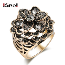 Kinel Luxury Gray Crystal Flower Ring For Women Antique Gold Color Vintage Jewelry Party Accessories Gifts 2019 New