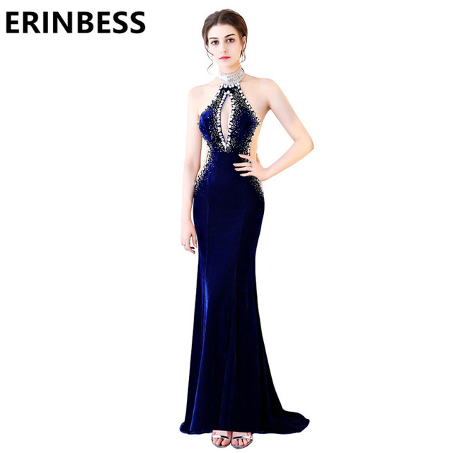 c7862ab633a 2019 Sexy Royal Blue Mermaid Evening Dresses High Neck Beaded Sequined  Backless Open Breast Velvet Prom Party Gowns For Women