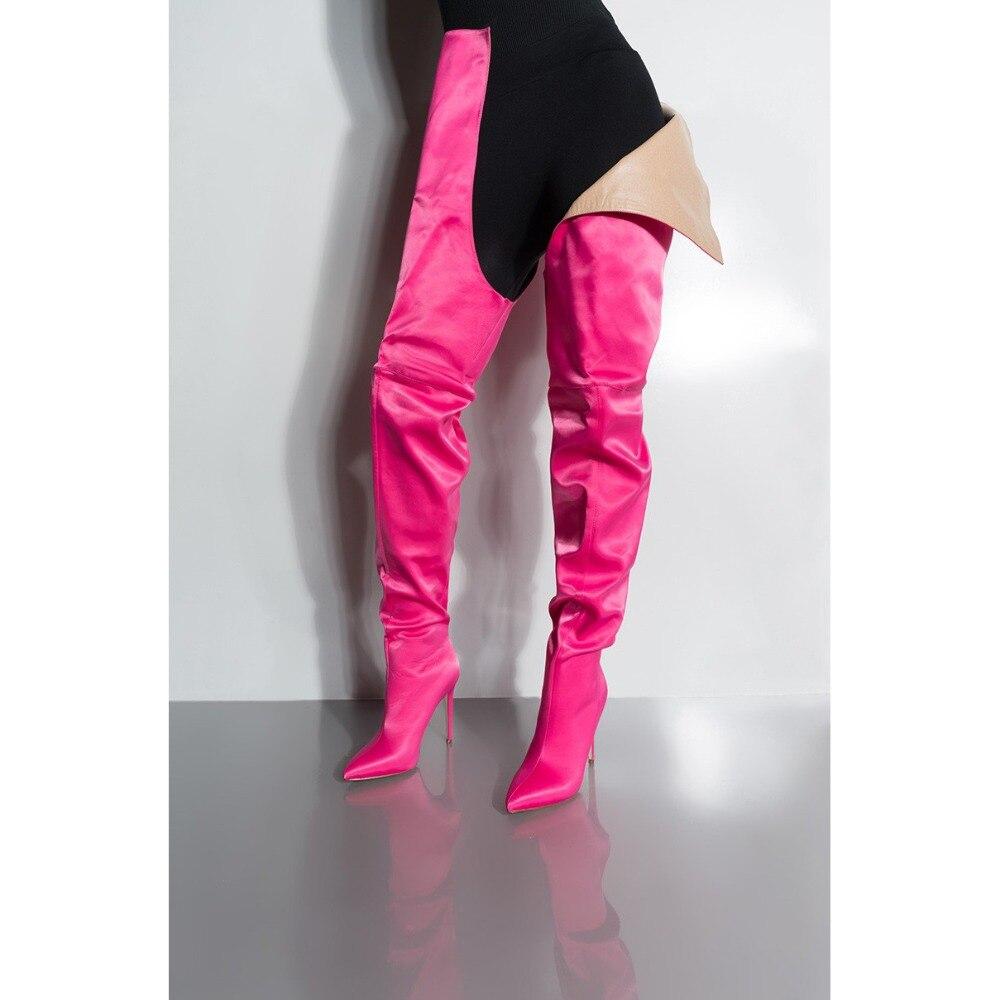 Bottes Femmes Pantalon Chaussures Fuchsia Stade Cowboy Cuisse Haute Pour Mode Fuchsia Denim Taille Bleu Parti Satin denim Stilettos Blue dR0ZYdw7q