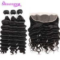Loose Deep More Wave Human Hair 3/4 Bundles With Lace Frontal Peruvian Weave Bundles With Frontal Shuangya Remy Hair Extensions