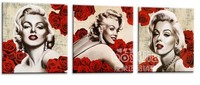 Movie Star Marilyn Monroe Red Lip And Red Rose Flowers Classic 100 Handpainted Oil Painting On