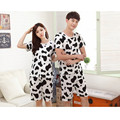 New Spring Summer Couple Pijamas Suit Women Men's Cow Pajamas Set Black White Sopted Sleepwear Top Short Home Clothing
