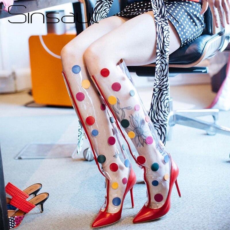 buy good top brands cheap price Sinsaut Shoes Women Transparent Boots Spring Autumn High Heel ...