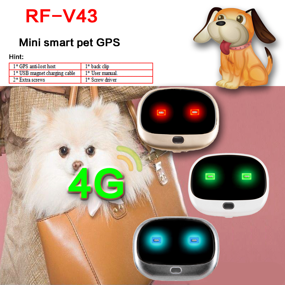 New arrived 4G  mini gps tracker  RF-v43 waterproof   Step counting Voice monitor pet dog gps tracker  Free software location