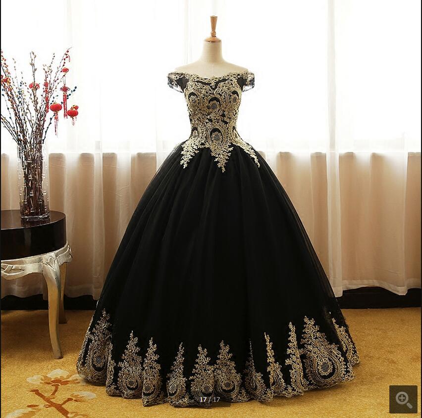 Robes élégantes pour le bal 2017 nouvelle robe de bal pas cher robe de bal sexy hors de l'épaule or dentelle appliques vraies robes de bal offre spéciale