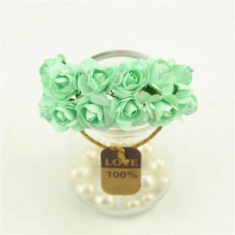 12pcs/lot 2cm Newest Mint Green Mini Paper Rose Flowers Bouquet ...