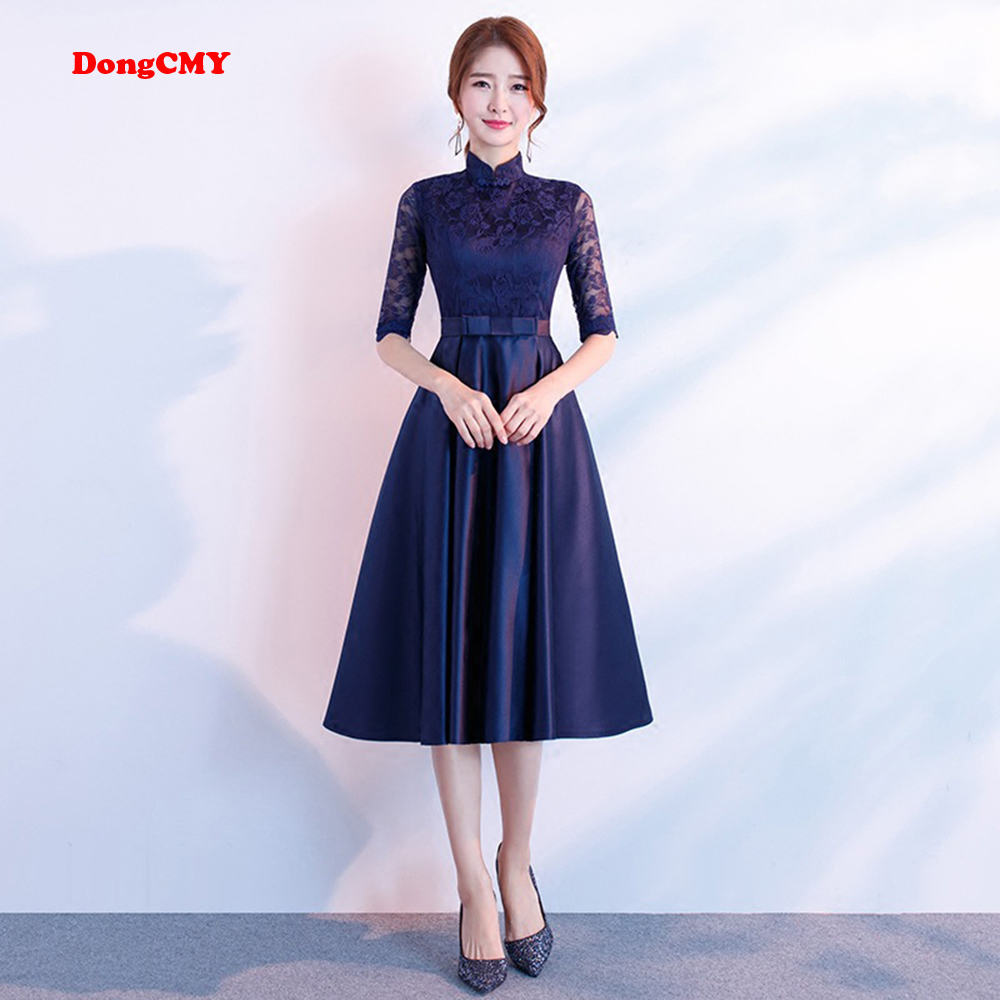 DongCMY   Prom     dress   2019 new short desgin women elegant party fashion plus size Navy Blue Gown