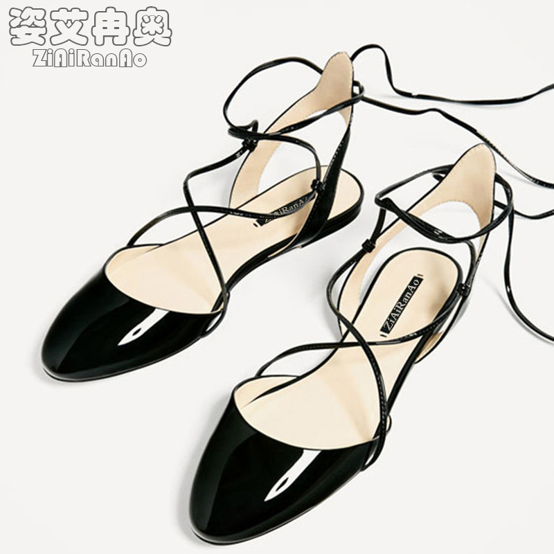 Summer Black Shoes Woman Casual Cross Straps Women Flats Shoes Fashion Women's Sandal Round Toe Lady Shoes Shallow Women Sandals 2017 summer new fashion sexy lace ladies flats shoes womens pointed toe shallow flats shoes black slip on casual loafers t033109