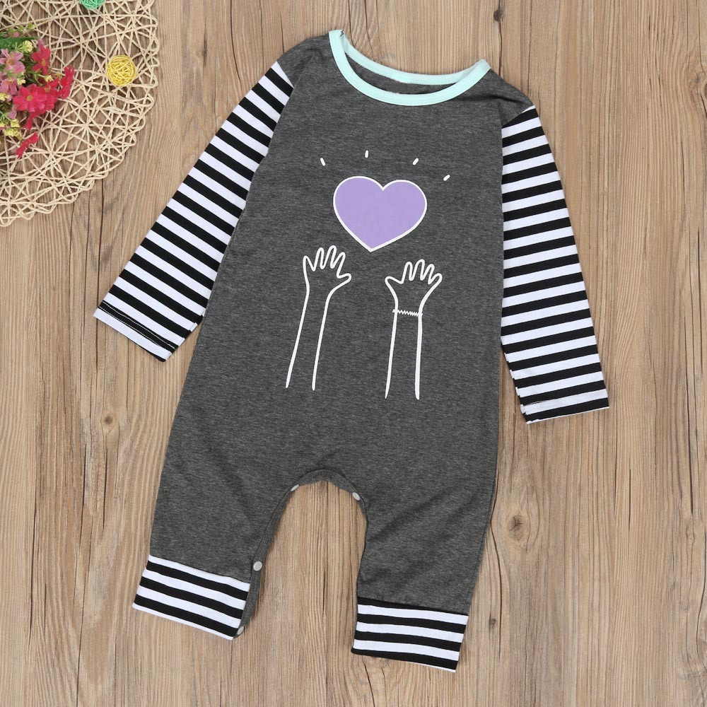 LONSANT Romper Newborn Baby Boy Girl Striped Heart Long Sleeve Romper Jumpsuit Outfits Clothes Dropshipping Wholesale