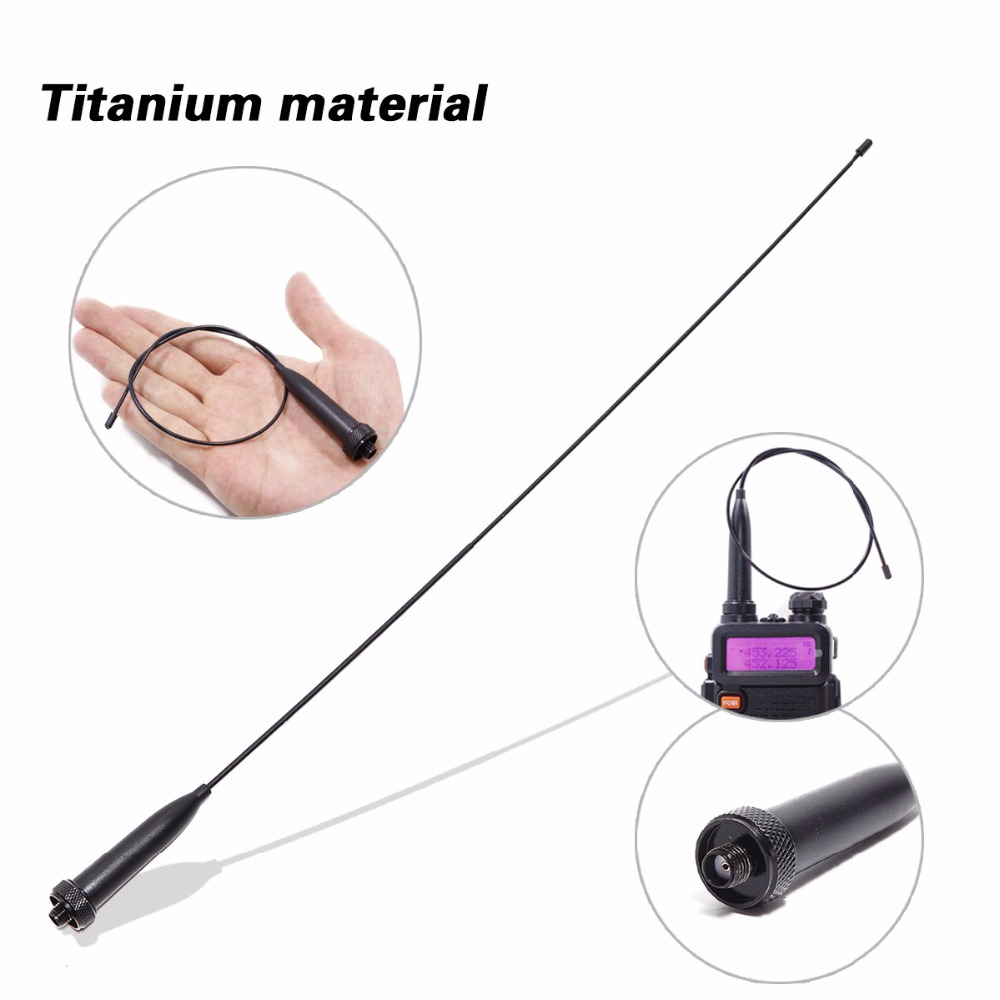AR 776 UV 9R Antenna Titanium SMA Female 144 430MHz Dual Band flexible for Baofeng UV