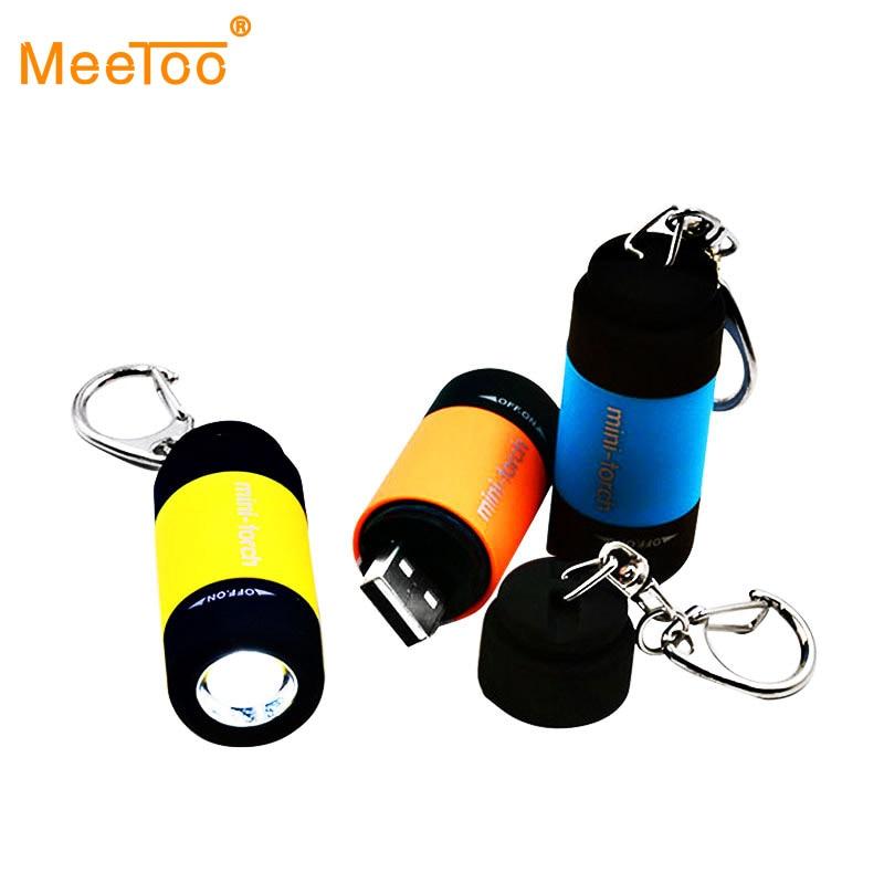 LED Torch Lamp Pocket USB Rechargeable Mini Keychain Keyring Camping Flashlight
