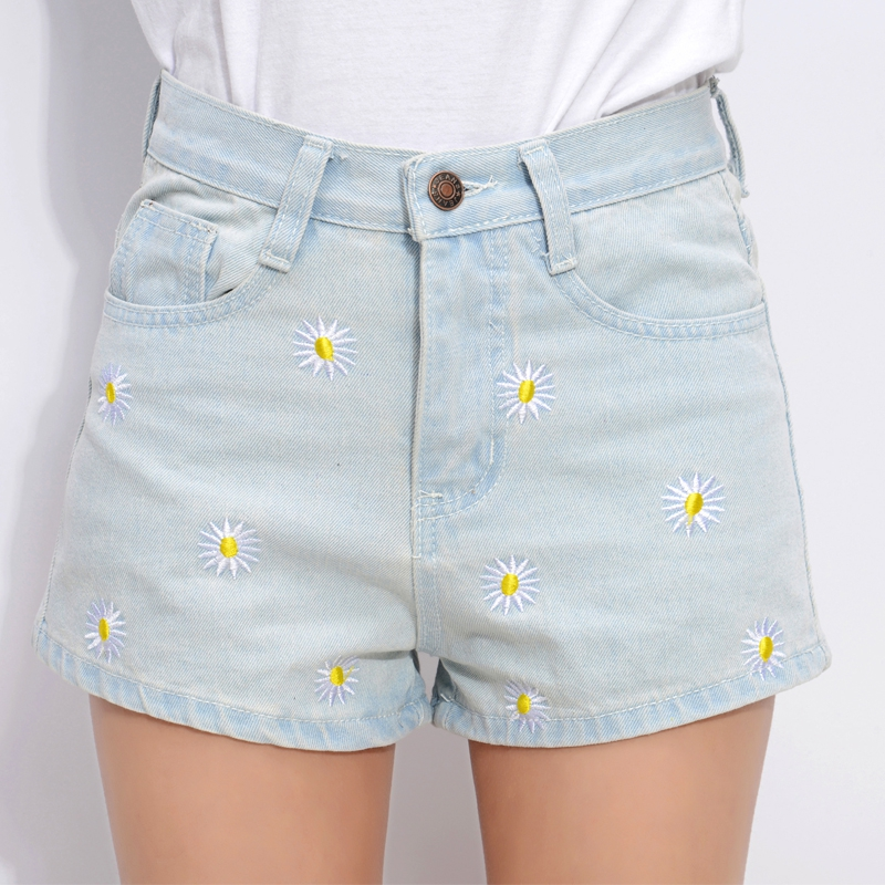 2016 female denim short trousers high waist Lady denim shorts female short thin Flower embroidery Blue Women Short Jeans Z1953