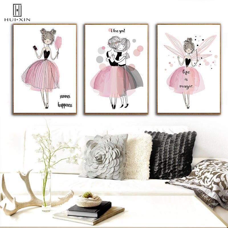 Dreamlike Images Wall Art Lovely Little Elves In Pink Girls Favorite Adorable Canvas Posters Art For Birthday Gift Home Decor