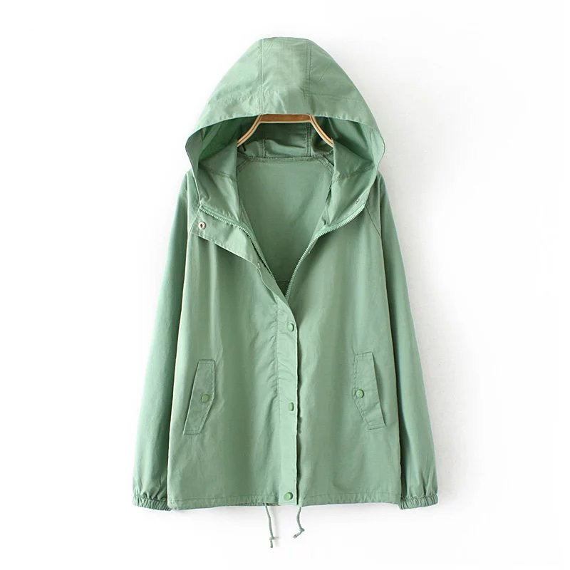 plus sizeJackets Women Spring Autumn Fashion   Jacket   Womens Hooded   basic     Jacket   Casual Thin Windbreaker female Outwear Women Coat