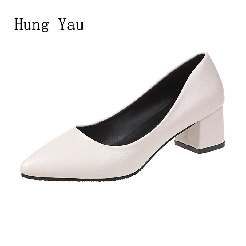 Women Pumps High Heels Shoes Casual Shallow Pointed Toe Thick Heels Solid Walking 2019 Spring Fashion Slip On Work Comfortable