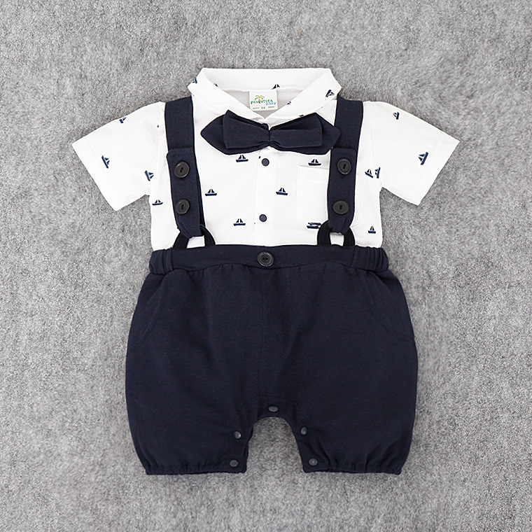Infant Baby Clothing Sets 2 Color Botton Formal Romper Suspender Shorts 2pcs Bebe Clothes Sets in Clothing Sets from Mother Kids