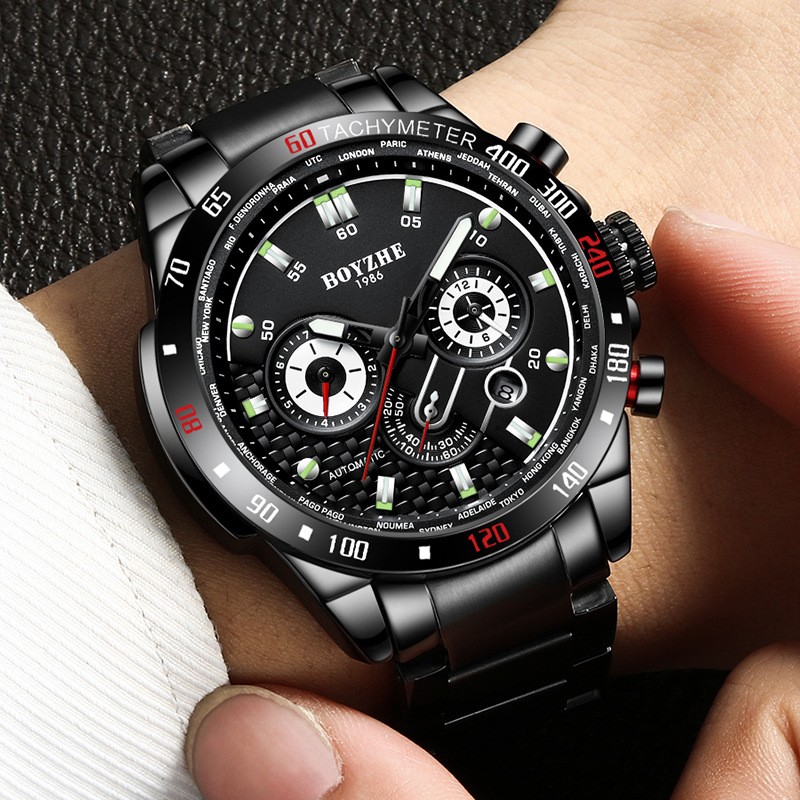 BOYZHE Men Automatic Mechanical Fashion Top Brand Sport Watches Stainless Steel Black Luminous Watch Relogio Masculino 2019 New-in Mechanical Watches from Watches    1