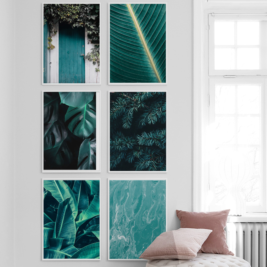 Image 2 - Green Plant banana Leaves Door Landscape Nordic Posters and Prints Wall Art Canvas Painting Wall Pictures For Living Room Decor-in Painting & Calligraphy from Home & Garden