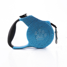 Rhinestone Jeweled Dog Leash Retractable Small Breed Retracting Extendable Training Lead 3M Blue Stone Black Rope for Pet Puppy