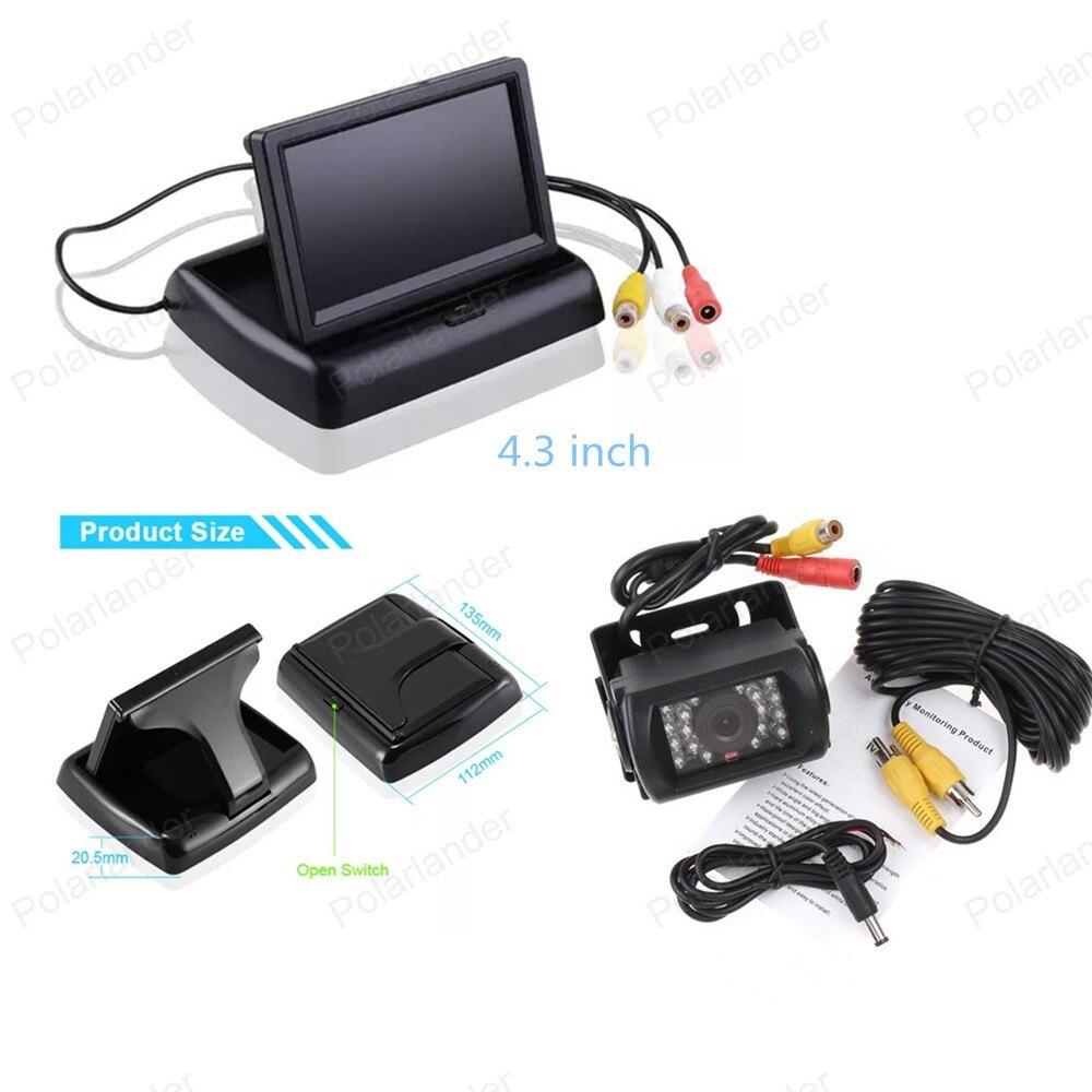 24 V lkw reverse parkplatz kamera + 4,3 zoll Faltbare TFT LCD Rückspiegel Monitor für parkplatz umkehr, freies verschiffen