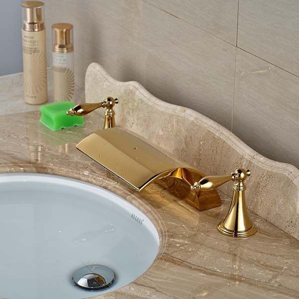 NEW Two Handles Deck Mounted Golden Brass Waterfall Basin Faucet Widespread Vanity Sink Mixer free shipping wholesale and retail golden big c shape widespread deck mounted waterfall bathroom basin sink faucet