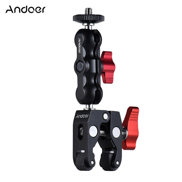 Andoer Multi-function Ball Head Clamp Ball Mount Clamp Magic Arm Super Clamp w/ 1/4″-20 Thread for GPS Phone Monitor/LED Light