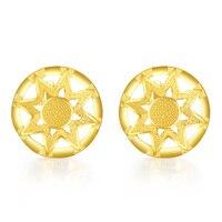 Solid 24K Yellow Gold Stud Earrings Round Star Stud Earrings